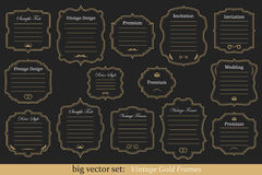 Vector Set of vintage gold frames. Big Vector Set of vintage gold frames on black background Royalty Free Stock Image