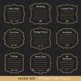 Vector set of vintage gold frames. On black background Royalty Free Stock Photography