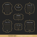 Vector set of vintage gold frames. On dark background Royalty Free Stock Images