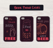Vector set of vintage hand drawn phone case made Stock Photos