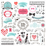 Vector set of vintage hand drawn wedding design Royalty Free Stock Photos