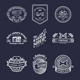 Vector set of vintage hipster logo. Retro icons collection of bicycle, moustache, camera etc. Royalty Free Stock Image