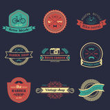 Vector set of vintage hipster logos. Retro icons collection of bicycle, moustache, camera etc Stock Photo