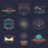Vector set of vintage hipster logos. Retro icons collection of bicycle, moustache, camera etc Royalty Free Stock Photo