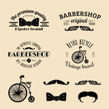 Vector set of vintage hipster logos. Retro icons collection of bicycle, moustache, camera etc Royalty Free Stock Photography