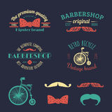 Vector set of vintage hipster logos. Retro icons collection of bicycle, moustache, camera etc Stock Photography