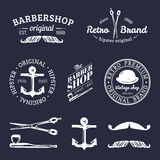 Vector set of vintage hipster logos. Retro icons collection of bicycle, moustache, camera etc Royalty Free Stock Images