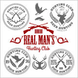 Vector set of vintage hunting emblems Stock Photos