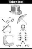 Vector set of vintage items Royalty Free Stock Photos
