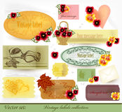 Vector set of vintage labels with flowers Royalty Free Stock Image