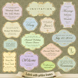 Vector set of vintage labels, tickets, marks and invitations in pastel colors with golden frames Royalty Free Stock Image