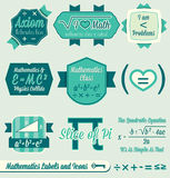 Vector Set: Vintage Math Labels and Icons. Collection of retro style math class labels and icons Royalty Free Stock Photo