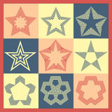 Vector set of vintage monochrome stars Royalty Free Stock Photography