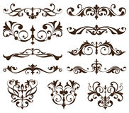 Vector set vintage ornaments, corners, borders. Vintage design elements art nouveau. Black and white monogram. Illustration white background Stock Images