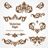 Vector set of vintage ornaments in Victorian style. Stock Photos