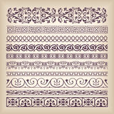 Vector set vintage ornate border frame with retro ornament patte. Rn in antique baroque style. Arabic decorative calligraphy design high quality Royalty Free Stock Photo