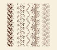 Vector set vintage ornate borders. Hand drawn henna mehndi tattoo doodle borders Royalty Free Stock Photo