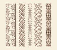 Vector set vintage ornate borders. Hand drawn henna mehndi tattoo doodle borders Stock Image