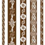 Vector set vintage ornate borders. Hand drawn henna mehndi tattoo doodle borders Royalty Free Stock Photos