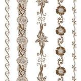 Vector set vintage ornate borders. Hand drawn henna mehndi tattoo doodle borders Stock Photo