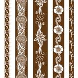 Vector set vintage ornate borders. Hand drawn henna mehndi tattoo doodle borders Stock Photos