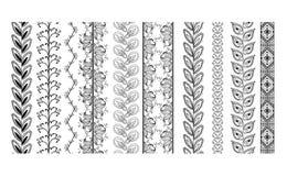 Vector set vintage ornate borders. Hand drawn henna mehndi tattoo doodle borders isolated on white Stock Images