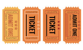 Vector set. Vintage paper admit one and ticket samples icon. Vector set of vintage paper admit one and ticket samples icon Stock Photo