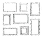Vector set of vintage photo frames, hand drawn doodle style, antique ornamental and cute photo frames stock illustration