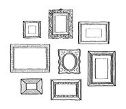 Vector set of vintage photo frames, hand drawn doodle style, antique ornamental and cute photo frames royalty free illustration