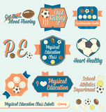 Vector Set: Vintage Physical Education Labels Stock Photos