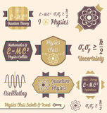 Vector Set: Vintage Physics Class Labels. Collection of retro style physics class labels for back to school at college or high school Stock Photography