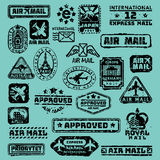Vector set of vintage postage mail stamps. Royalty Free Stock Photo