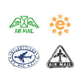 Vector set of vintage postage mail stamps. Royalty Free Stock Image