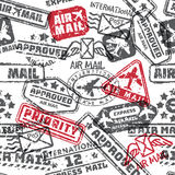 Vector set of vintage postage mail stamps  seamless pattern Stock Photography