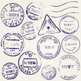 Vector set of vintage postage stamps from many countries Stock Photo