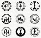Vector set of vintage retro badges: business woman. Vintage retro stamps | badges | labels : business woman and office workers Stock Photos