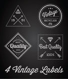 Vector Set of 4 of Vintage Retro Style Premium Design Labels Black and White Royalty Free Stock Image