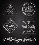 Vector Set of 4 of Vintage Retro Style Premium Design Labels Black and White. Vintage Retro Style Premium Design Royalty Free Stock Image