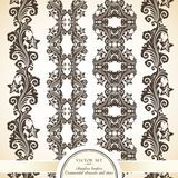 Vector set of vintage seamless borders. With decorative ornamental elements and stars Stock Photos