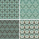 Vector set with vintage seamless patterns. Abstract background in flat retro style vector illustration