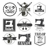 Vector set of vintage sewing logo, design elements and emblems. Tailor shop labels Royalty Free Stock Images