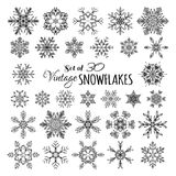 Vector Set of 30 Vintage Snowflakes. Stock Images
