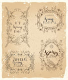 Vector set of vintage spring frames and ornaments. Royalty Free Stock Images