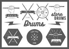Vector set of vintage style drums labels, emblems Royalty Free Stock Photo