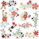 Vector Set of Vintage Style Flower Clusters Stock Image