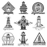 Vector set of vintage style lighthouses. Isolated logos, badges, emblems, icons or labels in monochrome Stock Photos
