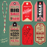 Vector set of Vintage Style Sale Tags. Design Stock Image
