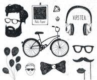 Vector set of vintage styled design hipster stuff. Hand drawn doodle templates for your design. royalty free illustration