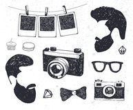 Vector set of vintage styled design hipster stuff. Hand drawn doodle templates for your design. Stock Photo