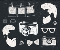 Vector set of vintage styled design hipster stuff. Hand drawn doodle templates for your design. Stock Image
